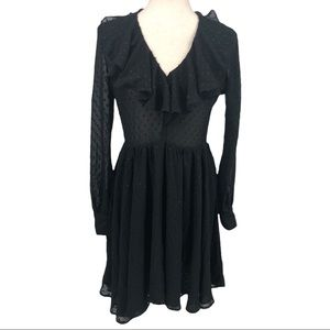 NEW L'Agence Black Embroidered Ruffle Long Sleeve LBD Size 2/Small